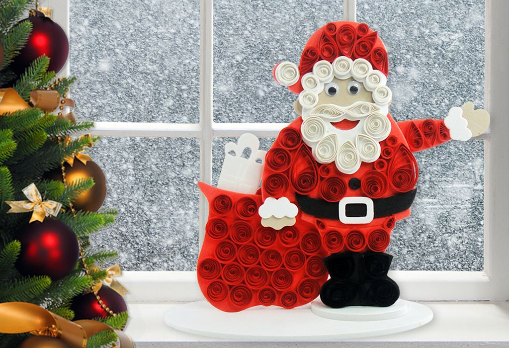 Santa claus craft fascinating quilling projects for Quilling paper craft ideas