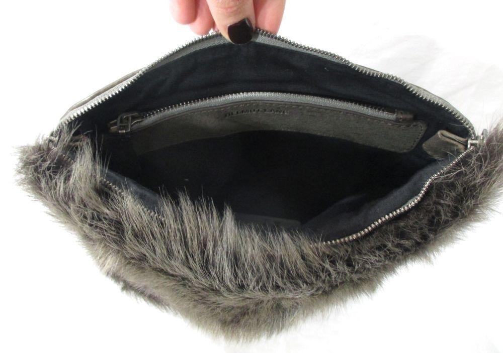 0f3e0664be08 HELMUT LANG Fox Fur Leather Inside Fold Over Clutch Wallet Purse Clutch RARE
