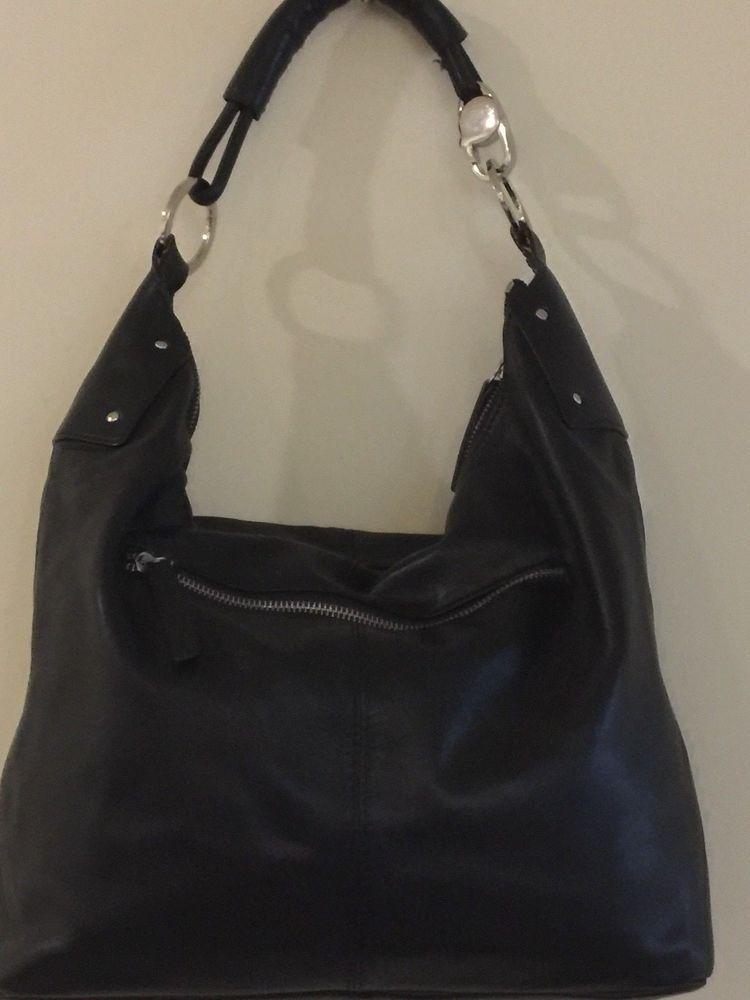 a9e45e75cf Desmo Black Leather Hobo Tote Shoulder Bag H 10 L 14 D 3 MADE IN ...