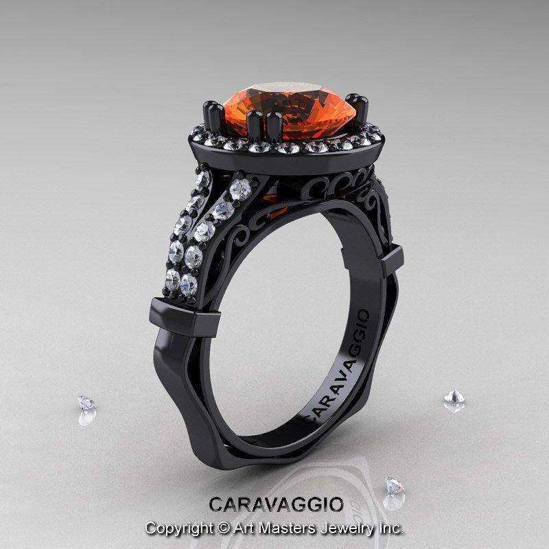 Caravaggio Italian 14K Black Gold 3.0 Ct Orange Sapphire Diamond Engagement Ring Wedding Ring R620-14KMBGDOS