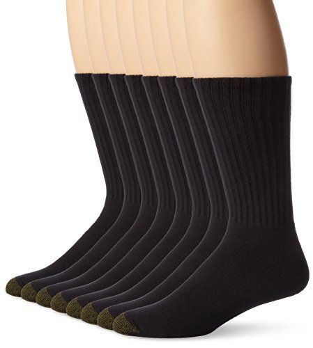 Gold Toe Mens Cotton Crew 6 Plus 2 Bonus Pack Black 1013 *** Check this awesome product by going to the link at the image.Note:It is affiliate link to Amazon.
