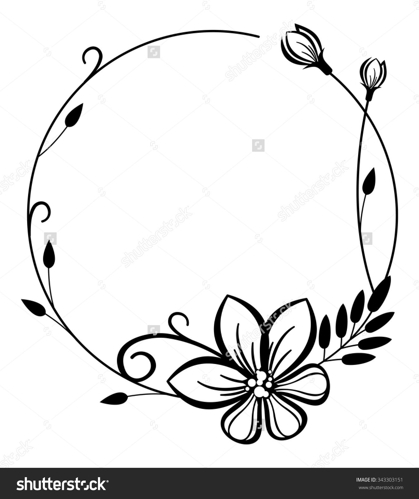 Round black and white frame with flowers Flower frame