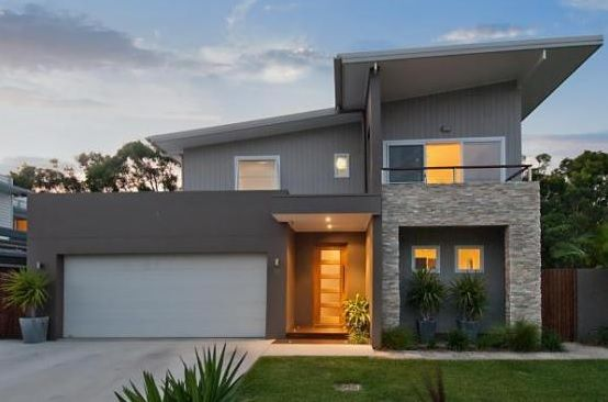 Exterior colour scheme of greys with a texture feature for Feature wall exterior