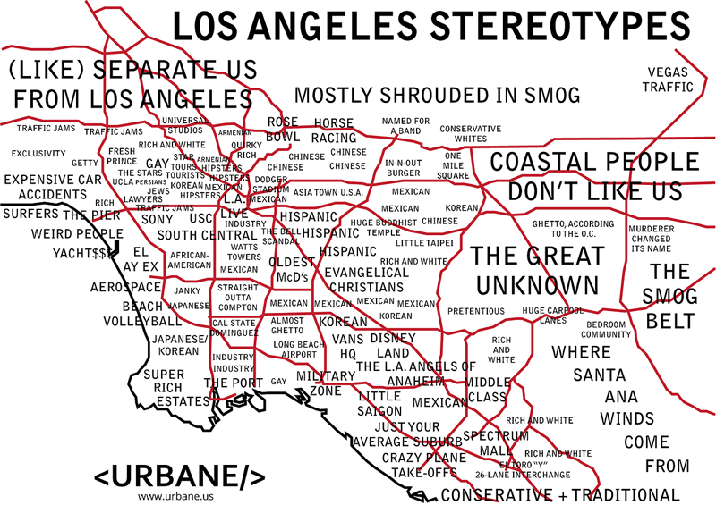 Los Angeles Neighborhood Stereotype Map Los Angeles I M Yours Los Angeles Neighborhoods Los Angeles Map The Neighbourhood