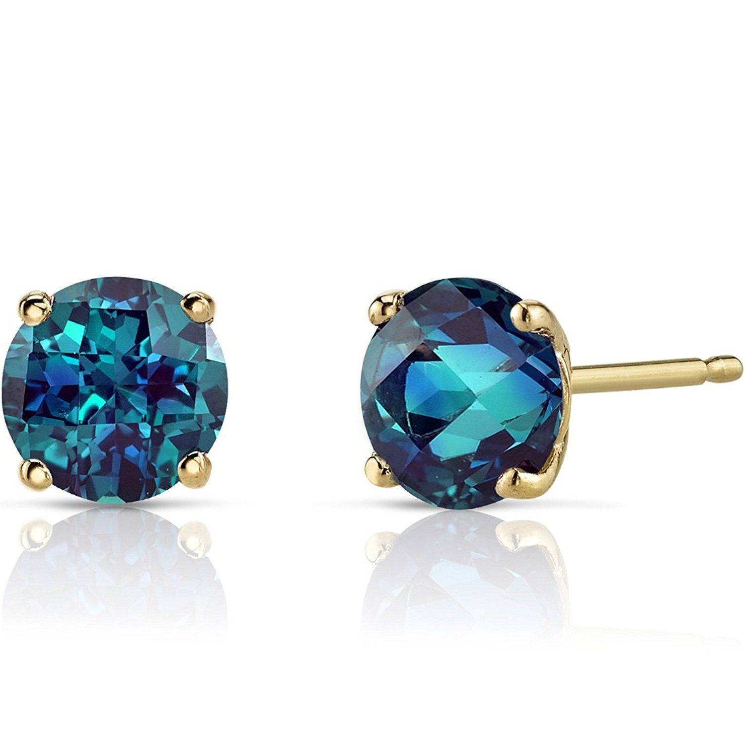 cut gold princess stud created natural pin alexandrite carats earrings karat white