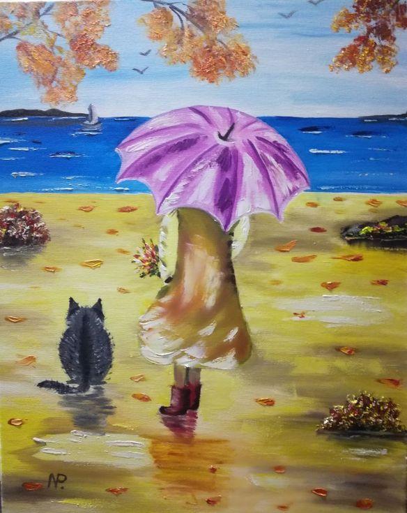 Waiting, Autumn, Wind, Sea, Umbrella, Gift, Girl, Original oil ...