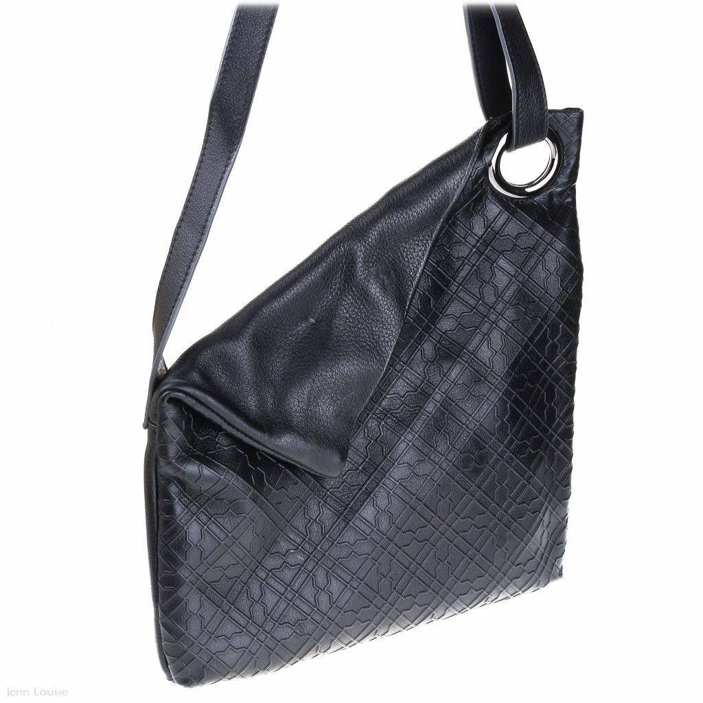 Leather Foldover Shoulder Bag Black Kelly Lippman Designer Handbags Australia Jenn Louise