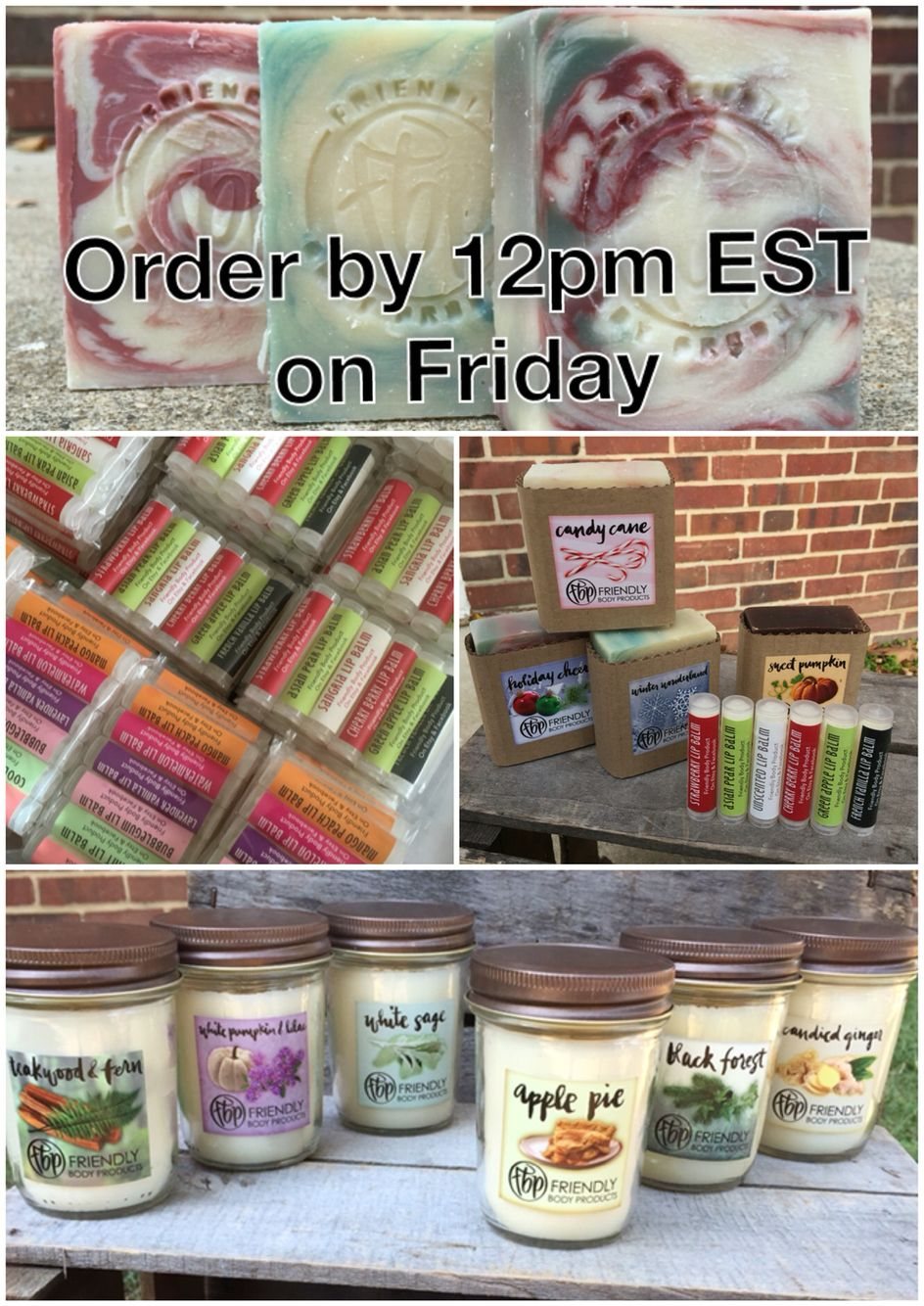5 for 20 handmade soaps 6 for 10 beeswax lip balms 10