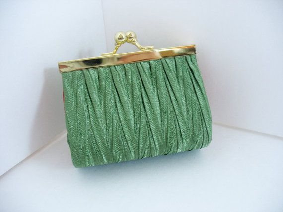 Mini Clutch Satin Handbag Vintage Special Occasion Green Red Minaudiere 1950's 1960s