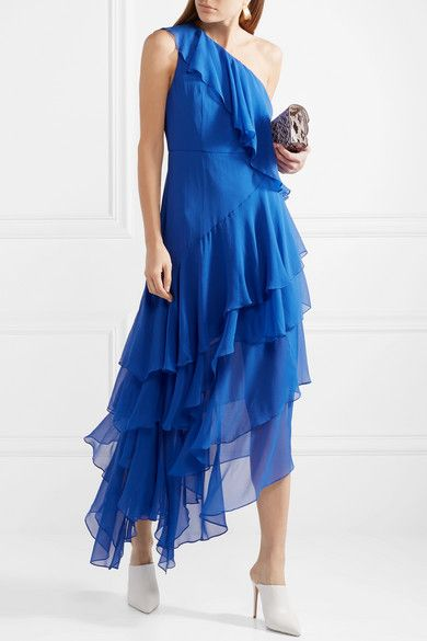 Alanis One-shoulder Ruffled Silk-chiffon Gown - Bright blue Alice & Olivia