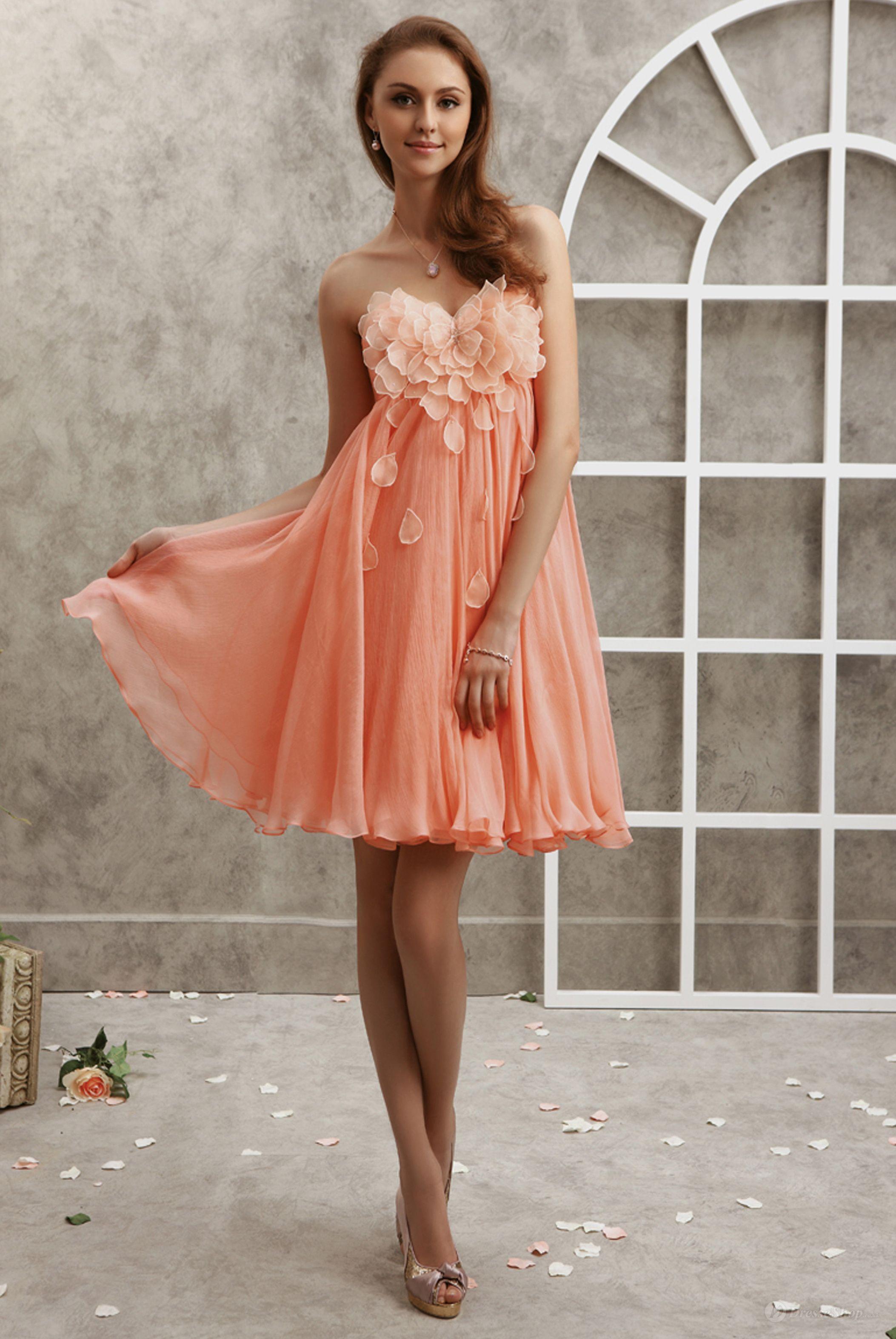Empire Sweetheart Flower Petal Chiffon Short/Mini Dress - possible ...