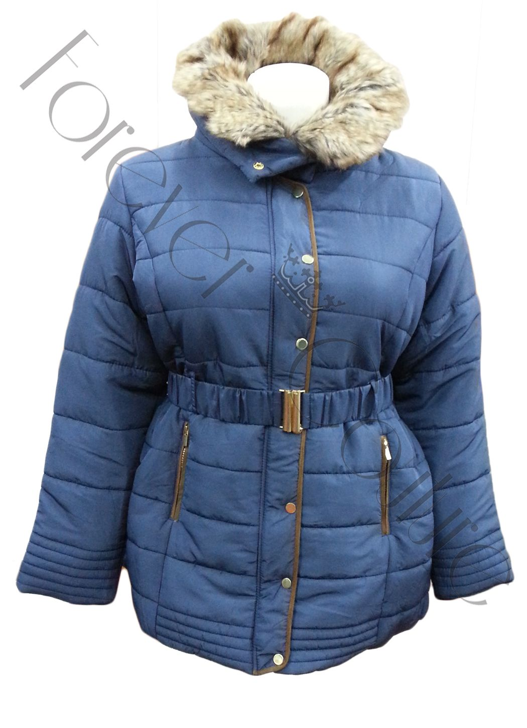 BLUE PADDED 3/4 COAT FUR COLLAR AND HOOD   Pack of 9 Pieces£26.00 per Piece VAT: 0%  FC