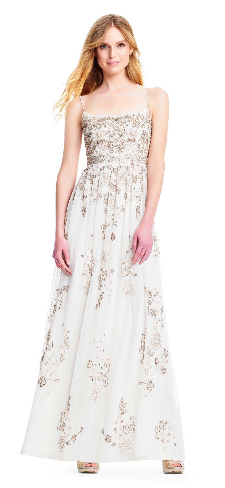 $500 wedding dress  Sequin Filigree Gown with Spaghetti Straps  Wedding dresses under