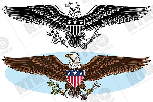 An American Eagle Patriotic Graphic Symbol Vintage Retro Clip Art
