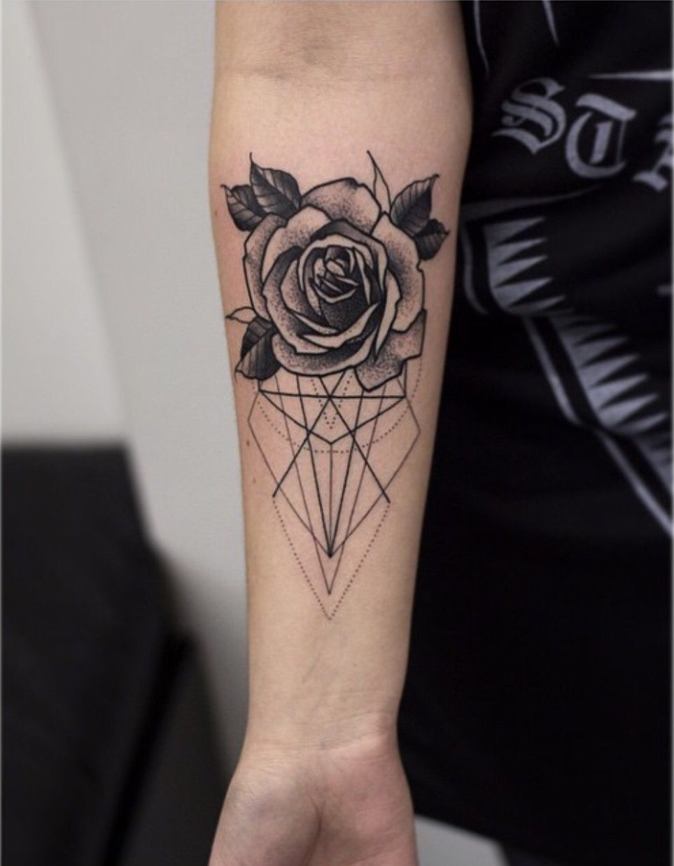 Geometric And Flower Tattoo Geometric Rose Tattoo Fake Tattoos Tattoos