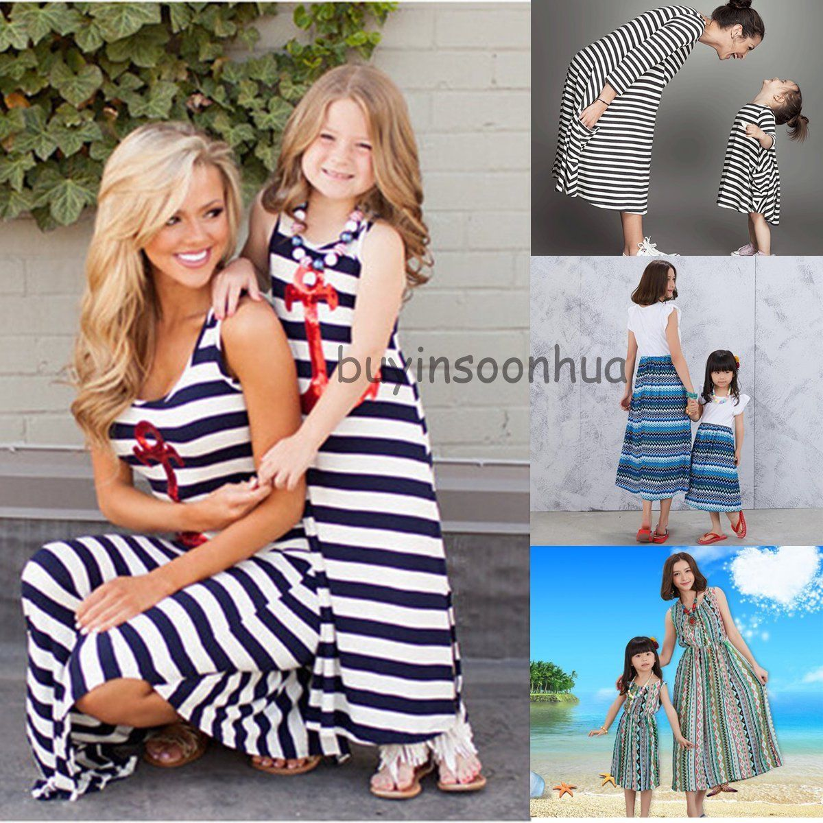 Mother and Daughter Dresses Striped Vest Dress Mom Girls Sundress Family Clothes
