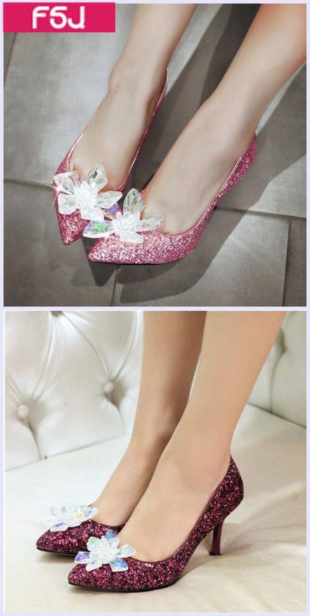 42a3174d0c53 Women s Wedding Shoes Silk Dress Shoes Winter Wedding Dresses Shoes Women s  Pink and Burgundy Rhinestone Glitter Pointy Toe Stiletto Heels Pumps Fall  ...