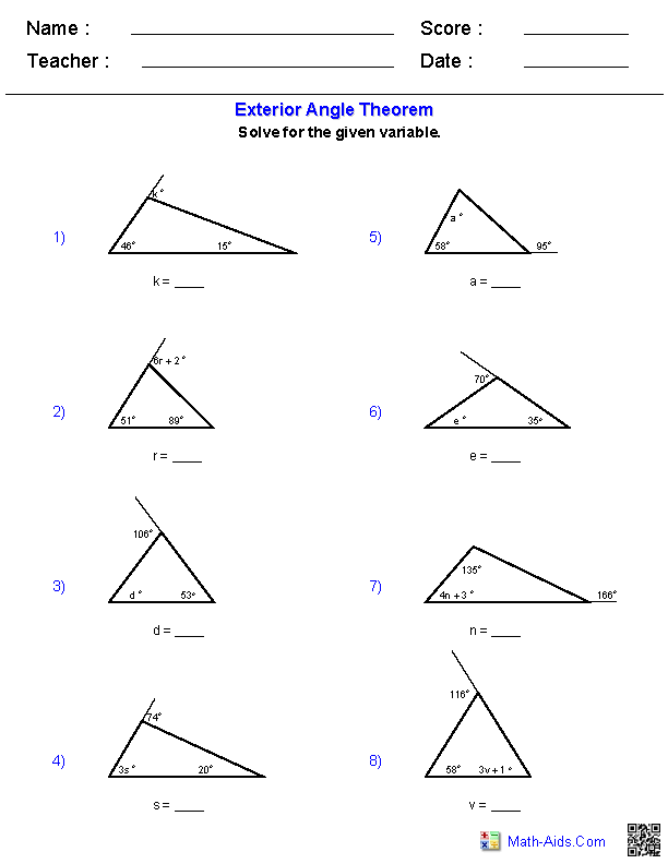 Triangle Angle Sum Worksheets Places to Visit – Missing Angle Worksheet
