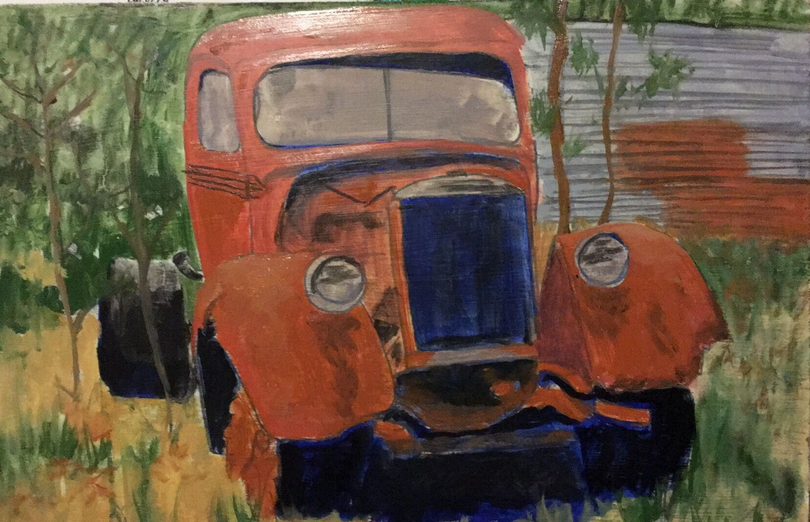Old Rusting Truck 9x13 oil on panel