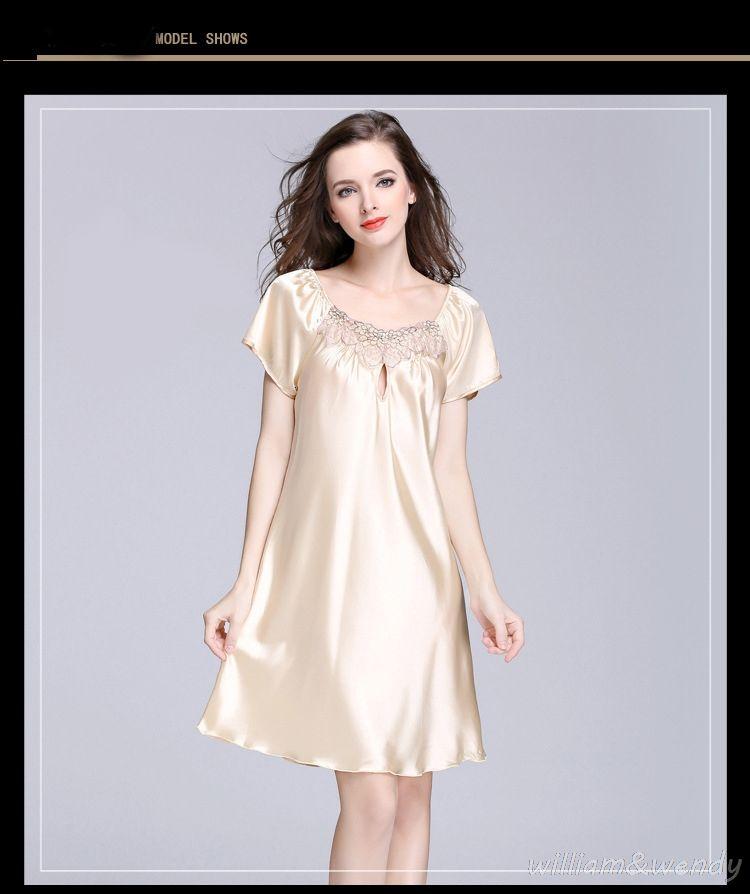 Nice Women Summer Homewear Nightdress Nightgown Sexy Large Size Silky Short  Sleeves Hollow Short Dresses Sleepwear Sleepshirt 3xl 4xl 38321f4e3