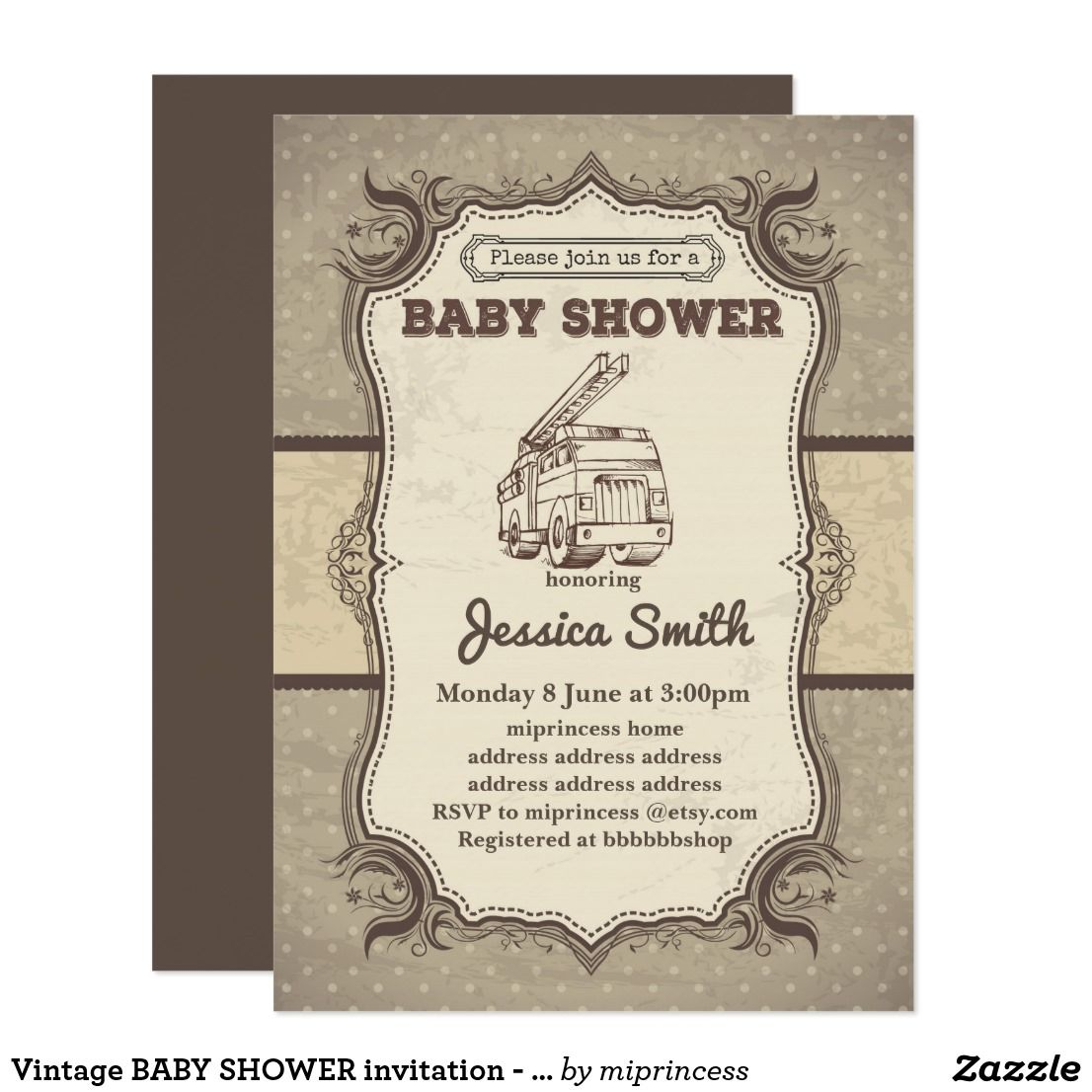 Vintage BABY SHOWER invitation - toy fire truck | Vintage baby ...