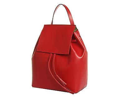 Рюкзак - натуральная кожа - красный, 30х14х33 см
