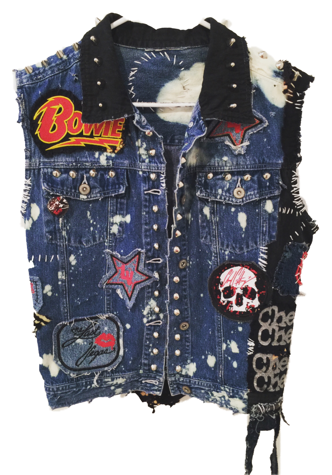 Denim rocker vest by Chad Cherry. Studded vests from Chad