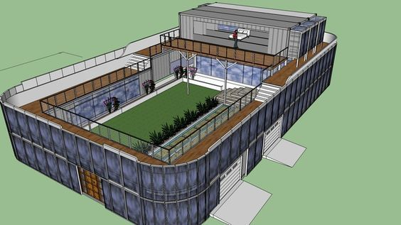 Large preview of 3d model of shipping container home with for Maison container 3d