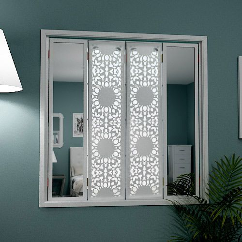 Mirror window shutters in lace design laser cut metallaser cuttinginterior window shutterswindow stylesdecorative