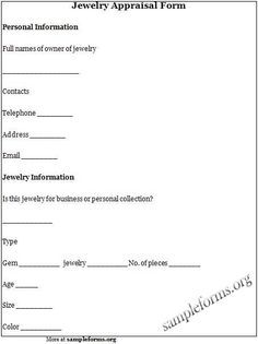 Jewelry Appraisal Form Sample More Reverend Larrin Robertson Deals  Officiant District Columbia  Free Appraisal Forms