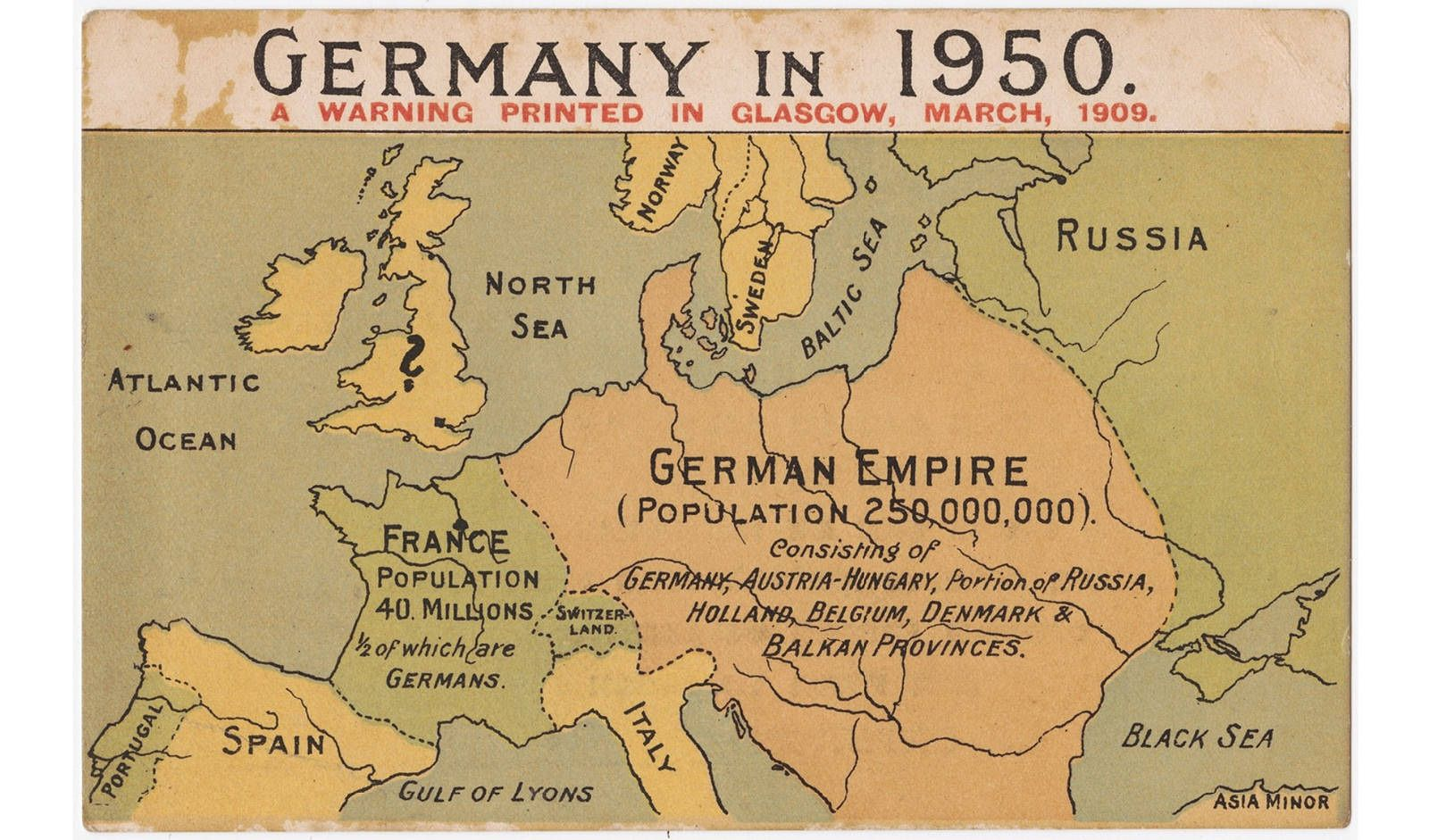 Map Of Asia 1950.Germany In 1950 A Warning Printed In Glasgow March 1909 Geo