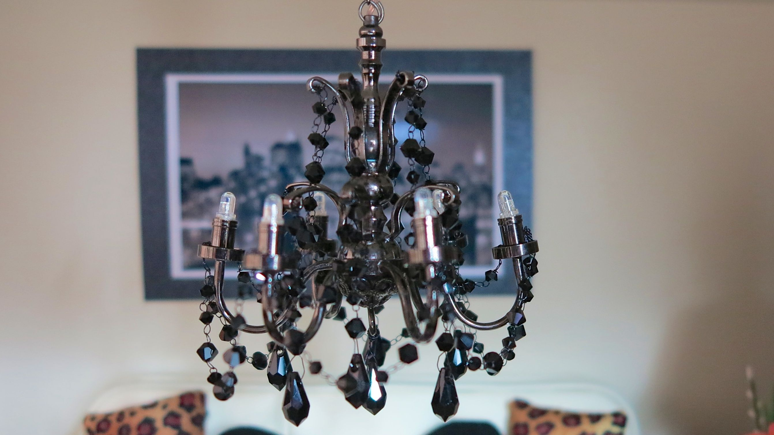 Dollhouse miniature chandelier made with black swarovski elements dollhouse miniature chandelier made with black swarovski elements bought at an online shop in nyc arubaitofo Image collections