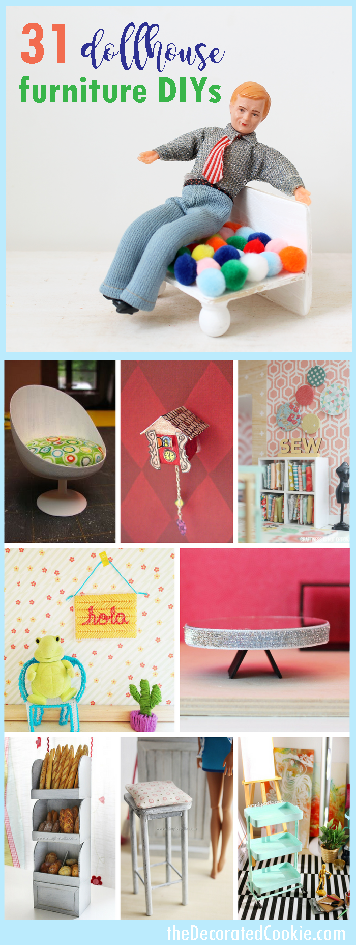 Doll house furniture ideas: A roundup of DIY doll house furniture tutorials.