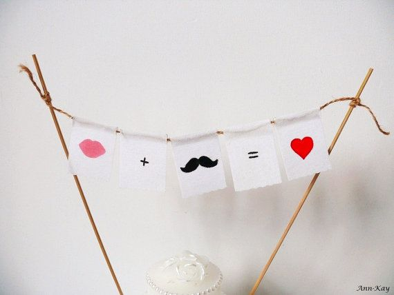 Cake Topper Mustache and Lips Mini Garland  / by AnnKayDesign