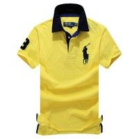 Custom-Fit Big Pony Polo Shirts Mesh Polo Shirt Men's Polo T Shirt Yellow Color