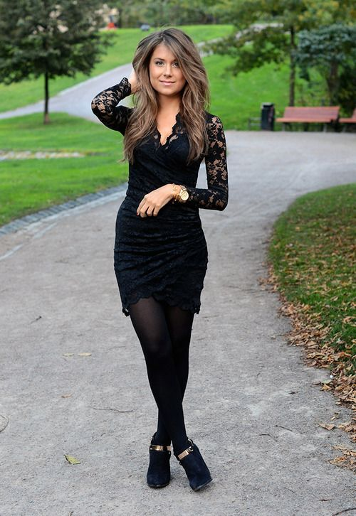 Black lace dress with tights and booties | fall fashion | Pinterest | Black laces Lace dress ...