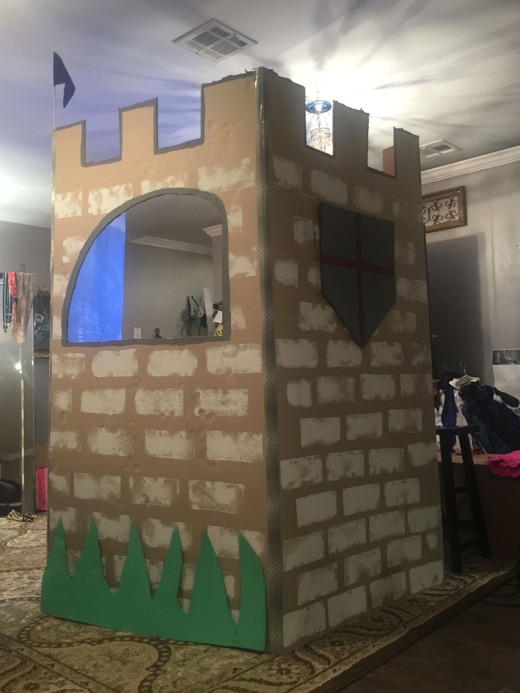I made a cardboard castle puppet theater out of a for Castle made out of cardboard