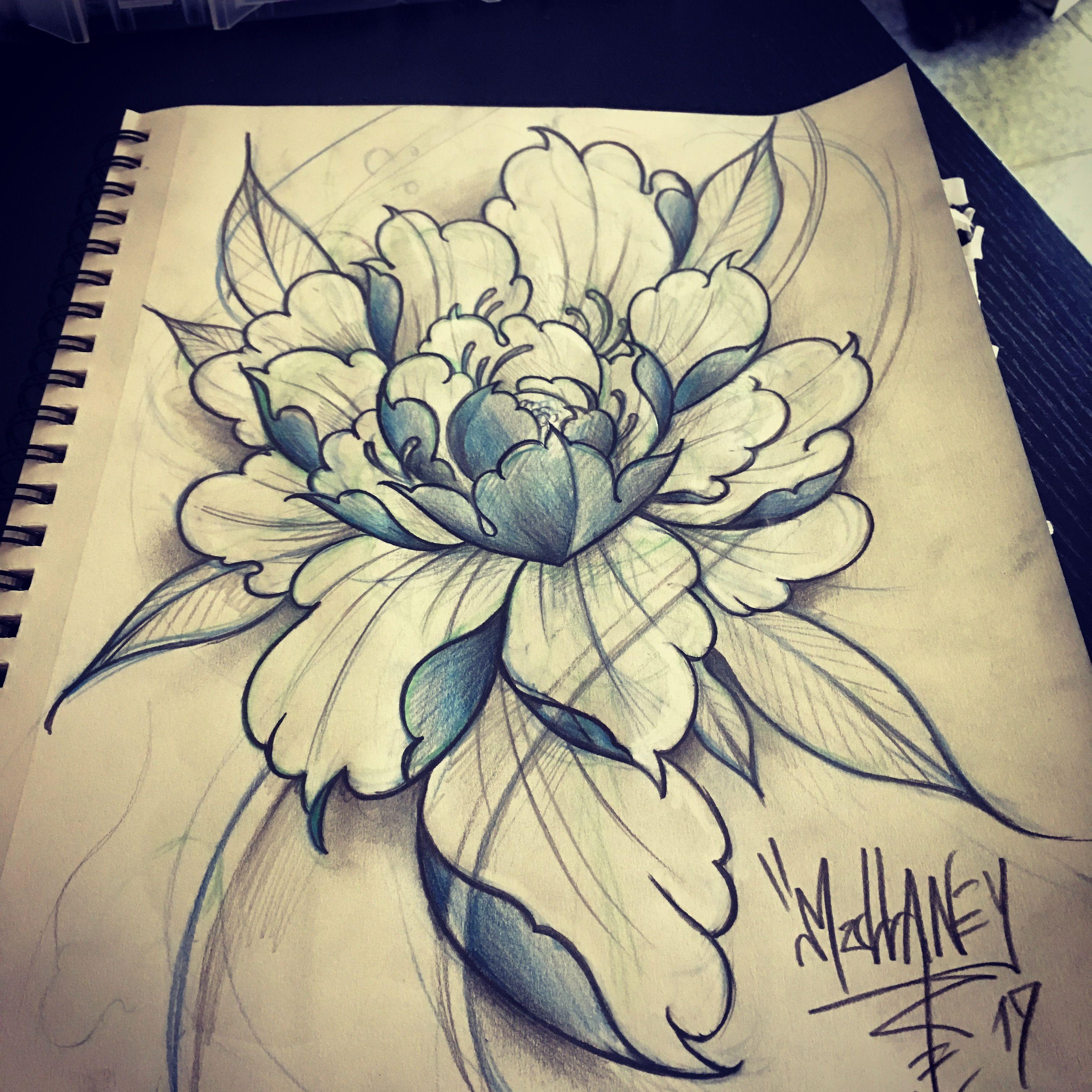 cfdda0bde oriental flower Japanese flower peony flower tattoo | Tattoos, body ...