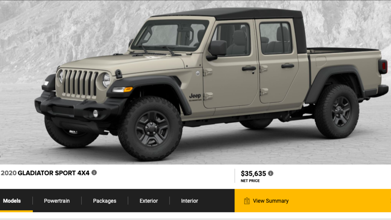 The 2020 Jeep Gladiator S Build Price Configurator Is Live