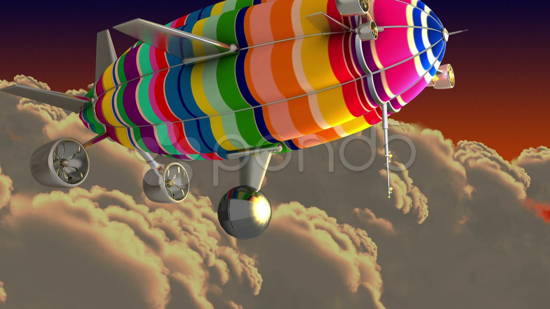 Colorful airship in the clouds introductory splash with