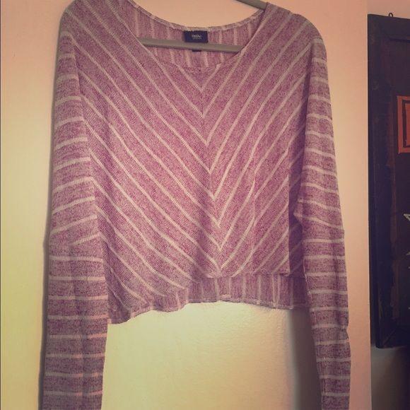 Striped Knit Sweater Very light weight sweater. Chevron stripe pattern. Pinkish-purple Sweaters Cardigans