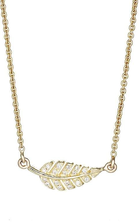 Womens Pavé Leaf Pendant Necklace Jennifer Meyer Jf0WU