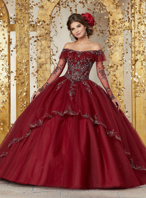 ce00cf2488 Long Sleeves Off Shoulder Quinceanera Dress by Mori Lee Vizcaya 89235