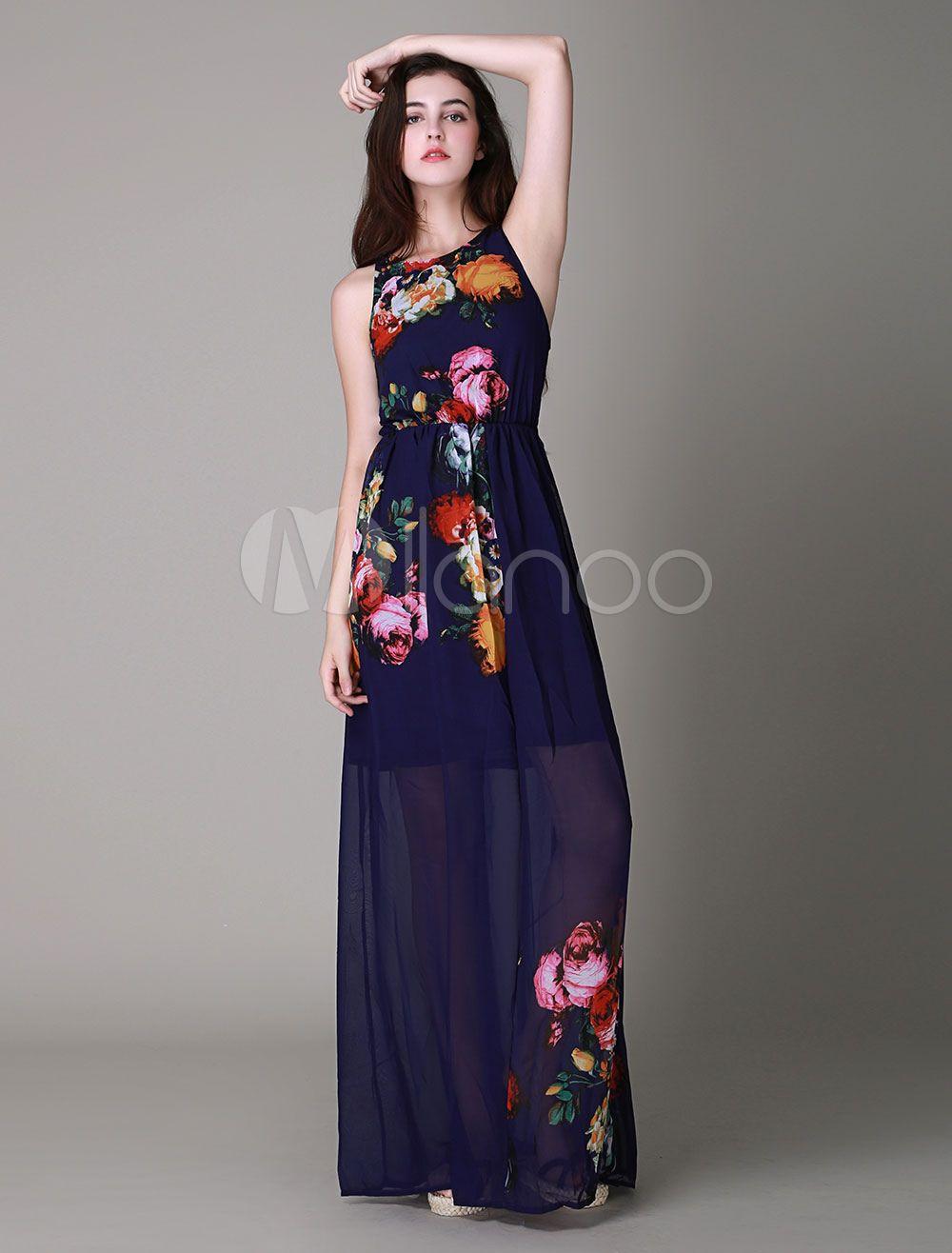 Multicolor Floral Print Chiffon Maxi Dress for Women