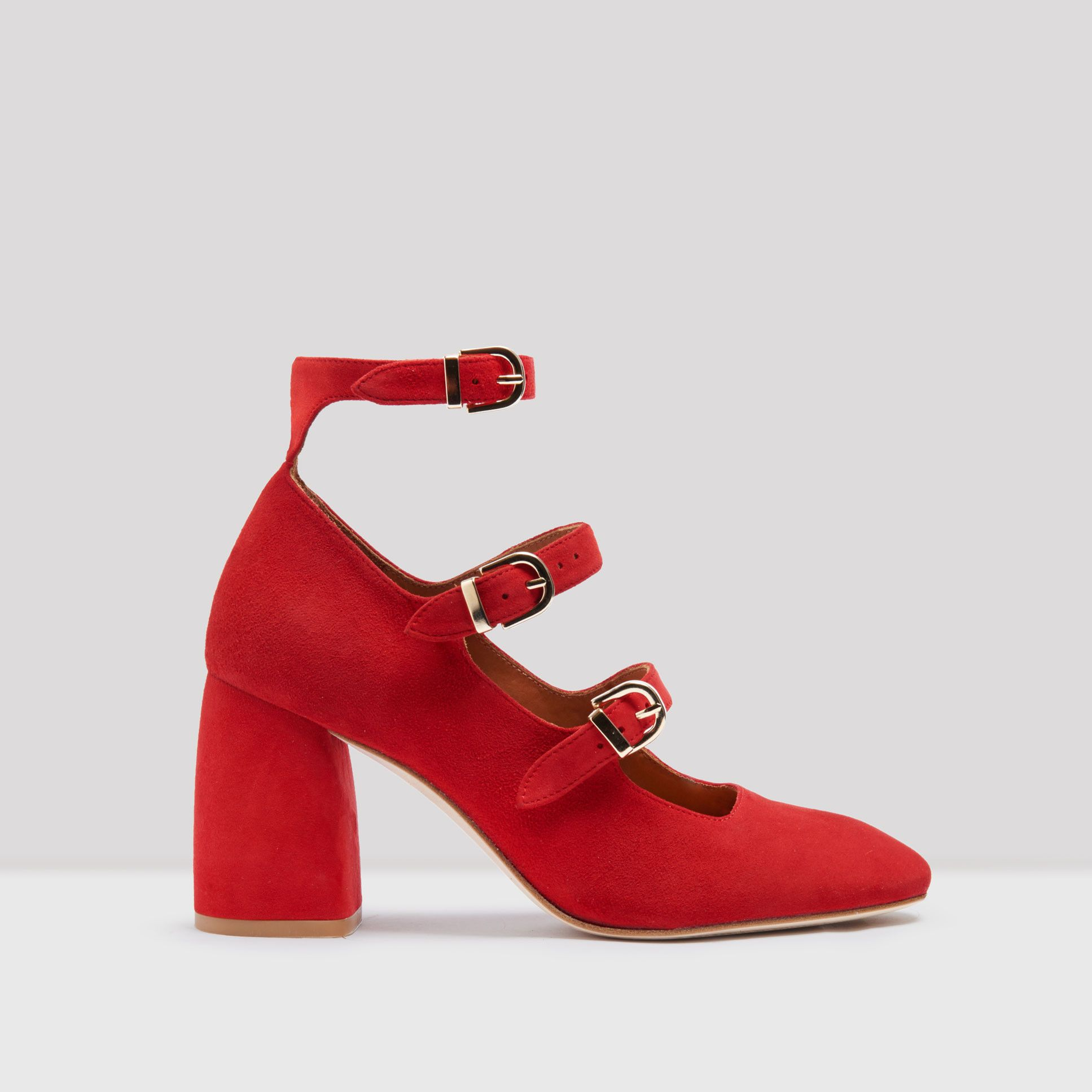 c97921553b4 MARY RED SUEDE HEELS BY MIISTA Mary Jane Shoes