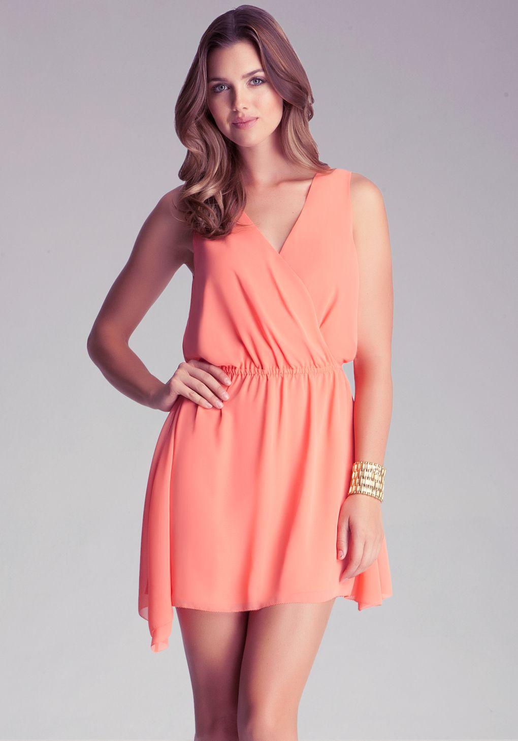 ea7606ae721 Bebe Surplice Chiffon Dress in Orange