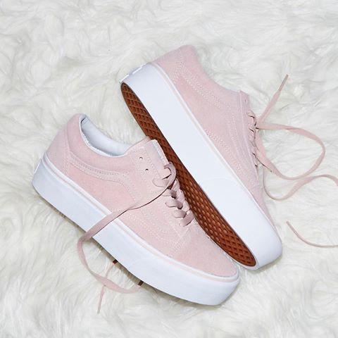 Pink vans old skool, Vans platform sneakers