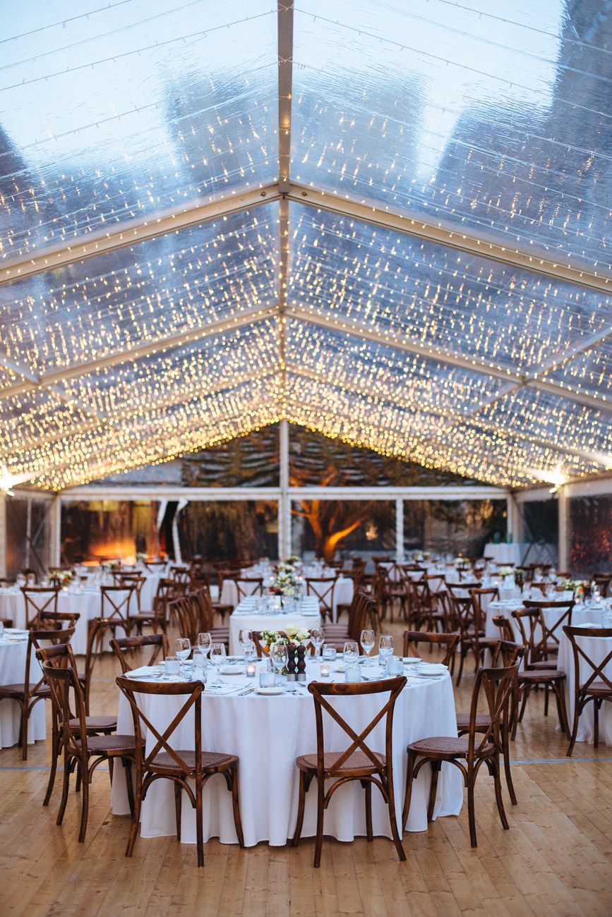 Round Function Tables 10m X 35m Clear Wedding Marquee With Round Tables Cross Back