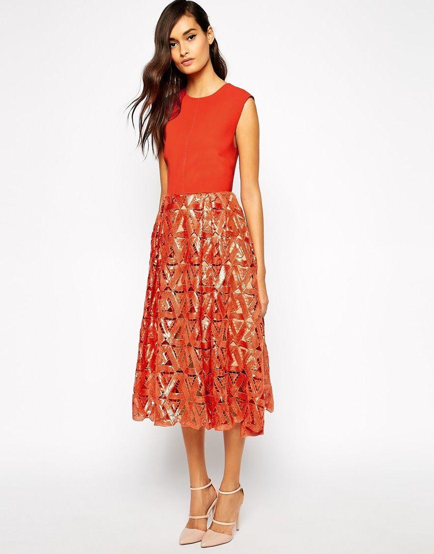 Self Portrait Geometric Sequin Midi Dress