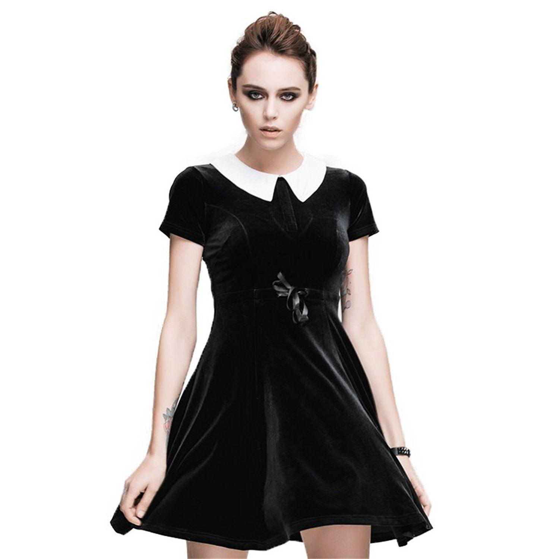 Punk women doll collar short sleeves mini flare dress summer pleated